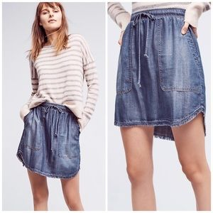 Cloth&stone High-low Chambray Mini Skirt