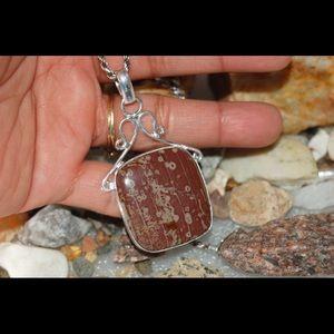 "handmade & handcrafted gemstone jewelry Jewelry - Polished Cherry Creek Jasper Pendant 2"""