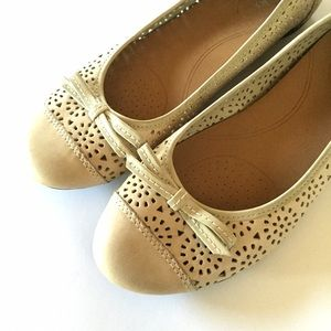 Clarks Shoes - Clarks Bendables leather perforated ballet flats