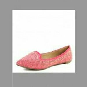 Breckelles Shoes - New BRECKELLE'S Pink Lemonade Gold Studded Flats