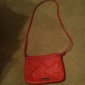 Calvin Klein Red Pebbled Leather Crossbody Bag