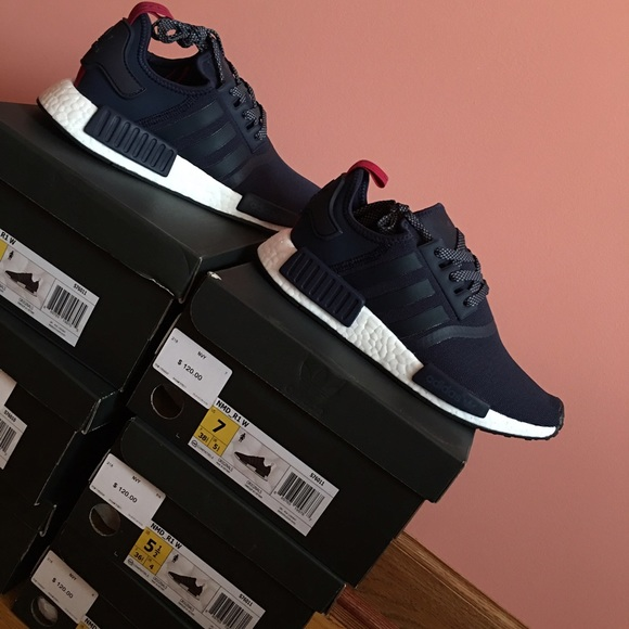 Adidas NMD R1 Boost Women's Navy, Red Size 5.5-8