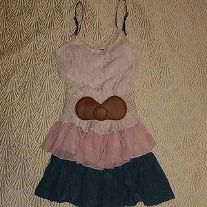 Ruffled dress with belt  NWT
