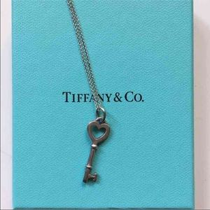 Tiffany and co heart key charm and chain