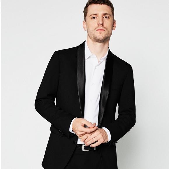 4f32062b Zara Suits & Blazers | Mens Black Satin Lapel Blazer Size 38 | Poshmark