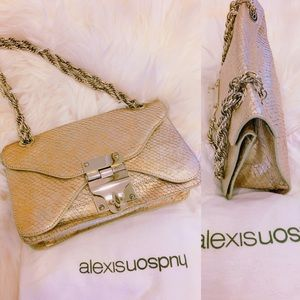 Alexis Hudson Gold Snake Pattern Handbag