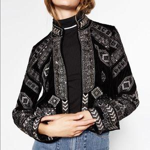 Zara embroidered metallic jacket