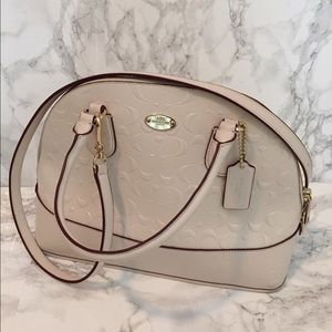 Coach Cora domed satchel debossed patent leather