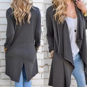 Sweaters - Gray high low jacket