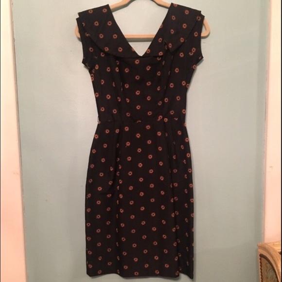 Vintage Dresses - Vintage 1960's Black Cotton Eyelet Wiggle Dress