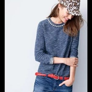 J. Crew Sweaters - J. CREW Marled Jeweled Sweatshirt Navy Vanilla Top