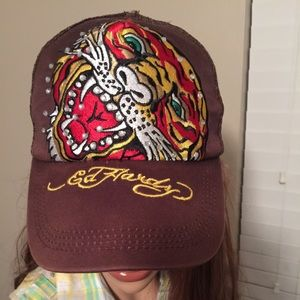 Ed Hardy Other - Ed Hardy Embellished Brown Hat