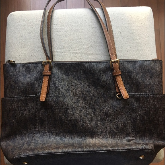 Used Michael Kors Handbags >> Michael Kors Bags Used Tote Purse With Mk Logo In Brown Poshmark