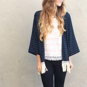 navy fringe kimono