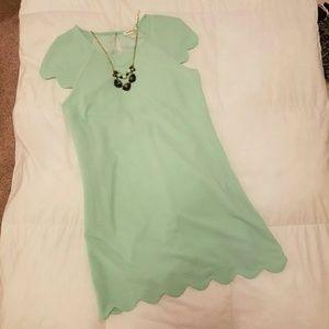 Monteau Dresses & Skirts - Mint scalloped trim A-line dress