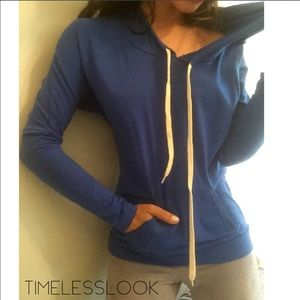 Royal blue lush amazing hoodie top with pockets