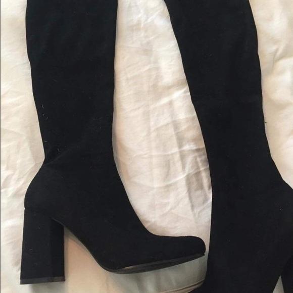 21 zara shoes zara black stretch knee high boots