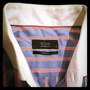 Eton Other - Eton Dress Men Shirt Slim Fit Blue w/ Red Stripes