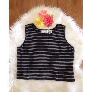 90's Ribbed Stripe Crop Tank 