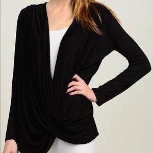 Bellino Clothing Tops - Black Surplice Top