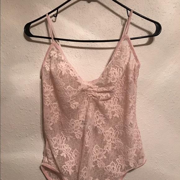 H M Light Pink Lace Bodysuit 3a878f9af932