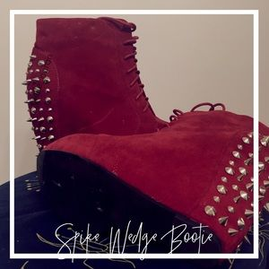 Shoes - Wedge Ankle Booties with Spikes & Studs