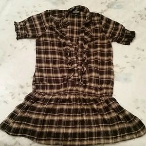 Dresses & Skirts - Plaid thick cotton dress with sleeves