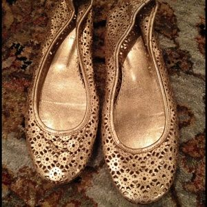 J Crew Gold Leather Perforated Ballet Flats for sale