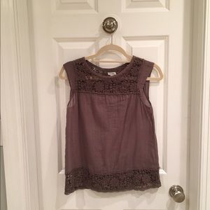 Odille brown sleeveless crocheted top