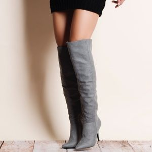Qupid Shoes - Grey Suede Over the Knee Boots
