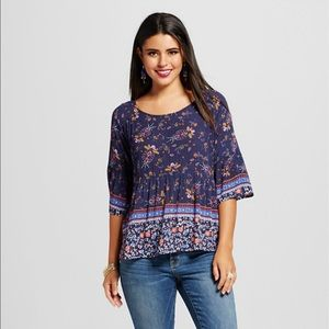 Pretty navy blue and colorful print tunic blouse