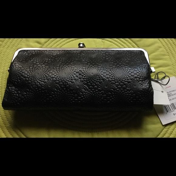 NWT New HOBO INTERNATIONAL Lauren Clutch Wallet Embossed Woven Black