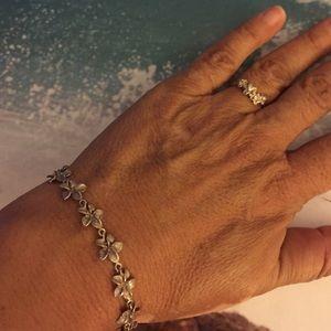 Plumeria bracelet and ring