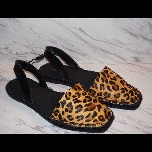 Zara Leopard Print Leather Espadrilles Sandals