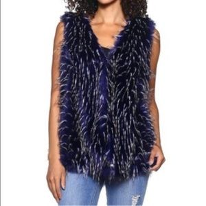 White-Tipped Blue Faux Fur Vest @ Insider Price!