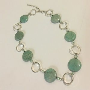 Vintage Jewelry - Green Stone & Silver Necklace