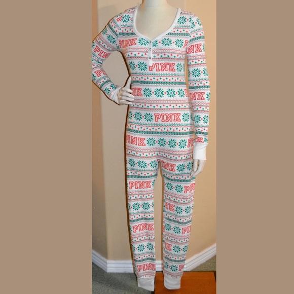 17be2033176 nwt victorias secret fireside fairisle thermal romper onesie pajamas ...