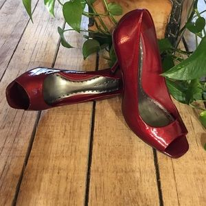 BCBGirls Shoes - BCBGirls Candy Apple Red Peep-toe Pump