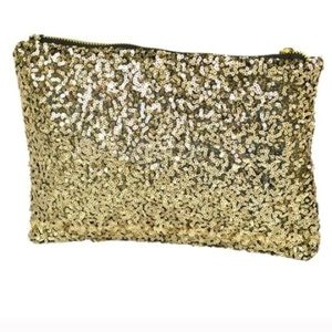 Gold Sequin Clutch Purse Bag Party Holiday