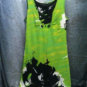 (3/$23) Sleeveless dress, scoop neckline, Greenery
