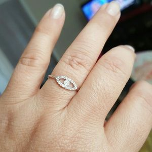 Cz Evil eye sterling silver ring sz 7 925 stamped