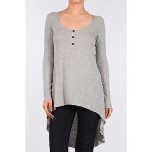 Rib Knit Long Sleeve Relaxed Tunic