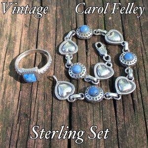 Carol Felley Jewelry - Vintage Sterling Carol Felley Denim Lapis Set