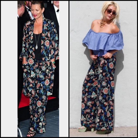 6eb5a2af328 Kate Moss for Topshop Paisley Wide Leg Pants S