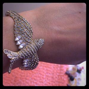 J. Crew Jewelry - JCrew brass bird themed paved bracelet