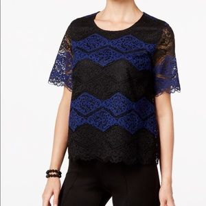 Blue & Black Lace Top
