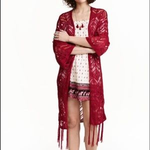 Red Fringed lace-knit cardigan H&M