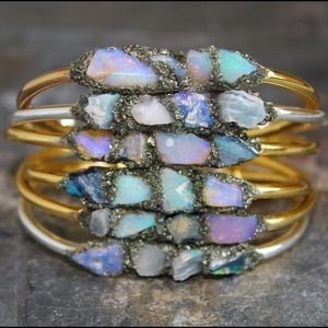 Raw Opal Jewelry - Opal Bracelets 24k gold plated