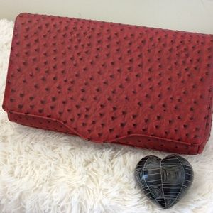 Handbags - Red Faux Ostrich Convertible Clutch