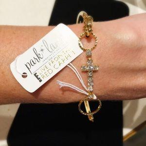 Park Lane Jewelry - NWT Park Lane Gold/CZ Cross Bangle/Hook bracelet.